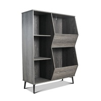 Camden Black Oak Wooden Storage Cabinet with Cube Shelves
