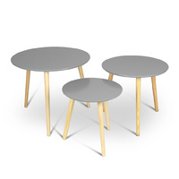 Aura 3 Piece Round Wood Coffee Table Set Grey