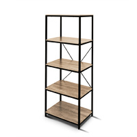 Rome Industrial Style 5-Tier Storage Bookshelf Oak