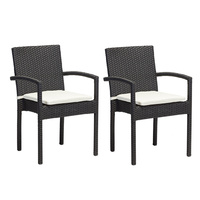 2pcs Rattan Armchair with Cushion Black