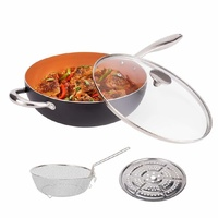 Michelangelo 4.7L Nonstick Wok with Lid Frying Basket & Steam Rack