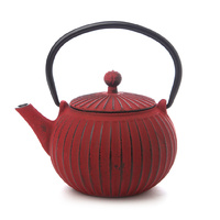 Teaology Cast Iron Teapot 500ml Ribbed Red Black