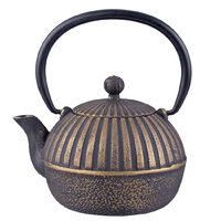 Teaology Cast Iron Teapot 500ml Imperial Stripe Black Gold