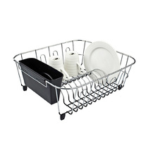 D.line Small Dish Drainer Chrome Pvc w/ Caddy 36.5 x 32.5 x 14.5cm Black