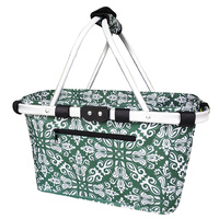 Sachi Carry Basket 2 Handle Bohemian Green