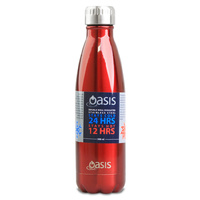Oasis 500ml Stainless Steel Double Wall Insulated Drink Bottle Red