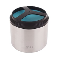 Oasis 1L Stainless Steel Insulated Food Container Jar Turquoise