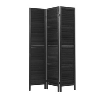 3 Panel Room Divider Screen Privacy Wood Dividers Timber Stand Black