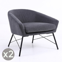 Set of 2 Fabric Armchair Dark Grey