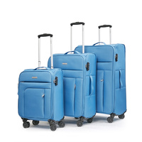 Conwwod SureLite 3pc 8 Wheels Soft Trolley Suitcase Skyblue